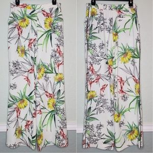 ZARA | White Floral High-Waisted Wide Leg Pants
